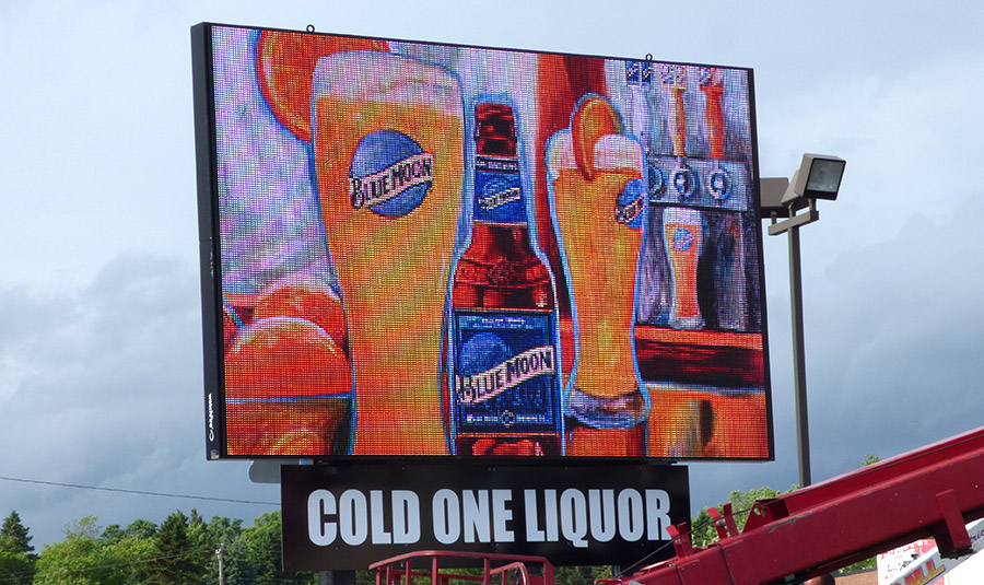 Large Digital Video Display Sign for Liquor Store