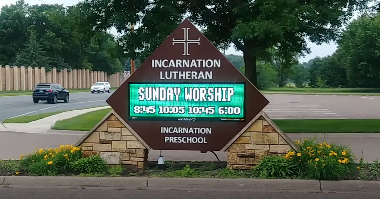 Incarnation Church North Oaks Monument Sign with Dynamic Message Center