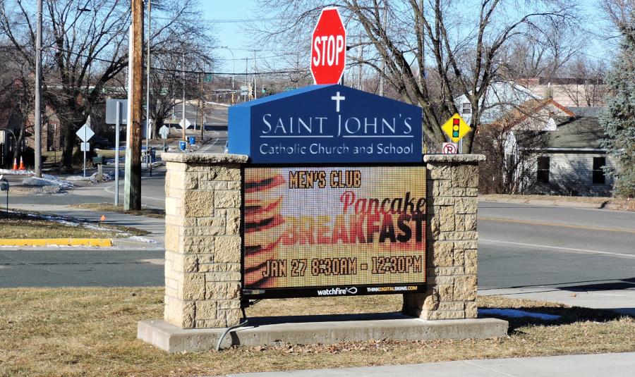 St Johns church Little Canada Monument Sign Digital Dynamic Display